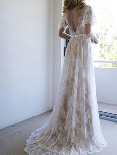Outlet Morden Long Wedding Dresses Romantic A-line White Lace Long Wedding Dress With Open Back Wedding Dresses, 2019 Wedding Dresses, Open Back Wedding Dresses, Lace White Wedding Dresses, Wedding Dresses Lace Wedding Dresses 2018 Lace Bridal, White Lace Wedding Dress, V Neck Wedding Dress, Backless Wedding, Dress Lace, Ivory Wedding, Prom Dress, Short Sleeved Wedding Dress, Tulle Lace