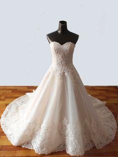 LOVE! <3 || Wedding Dress Romantic Wedding Gown Strapless : by FoldedRoses