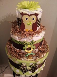 OWL 3 Tier diaper cake Forest theme, baby shower decoration/centerpiece