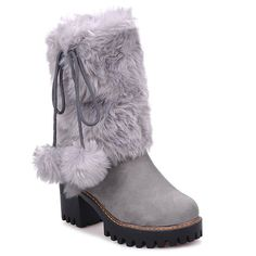 Chunky Heel Fluffy Mid Calf Boots #>=#>=#>=#>=#> Click on the pin to check out discount price, color, size, shipping, etc. Save and like it!