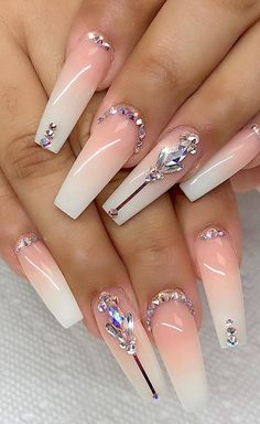 78 Hottest Classy Acrylic Coffin Nails Long Designs For Summer Nail Color – Page 28 of 78 – Nail Ideas Bling Acrylic Nails, Best Acrylic Nails, Rhinestone Nails, Bling Nails, Bling Nail Art, Long Nail Designs, Ombre Nail Designs, Nail Art Designs, Nail Designs Bling