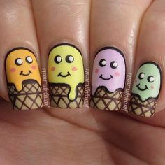 """Cartoon ice cream nails for #randomnailartjuly! Love these cute little guys, they make me smile All @chinaglazeofficial polishes here in…"""