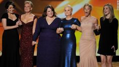 The nominees for outstanding lead actress in a comedy series -- Fey (from left), Martha Plimpton, Melissa McCarthy, Poehler, Edie Falco and ...