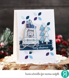Card by Laurie Schmidlin. Reverse Confetti stamp set: Bearing Gifts. Confetti Cuts: Bearing Gifts, Tall Tag Trio and Large Eyelet Cover Panel (negative pieces). RC cardstock: Mist, Navy, Royal Purple and Baby Blue. Christmas card. Winter card. Holiday card.