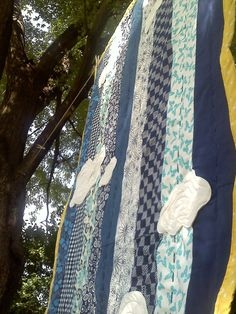 Hand Quilted Cloud applique quilt!  =) Twin Quilt Size, Striped Quilt, Grey Room, Blue Quilts, Applique Quilts, Hand Quilting, Owl, Crafting, Blue And White