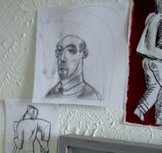Studies for the Old Stile Press illustrated edition of Peter Shaffer's play, 'Equus', blu-tacked to Clive Hicks-Jenkins' studio wall