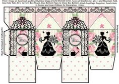 """Cottage Chic Happy Birthday Milk Carton Gift Box on Craftsuprint designed by Eileen Mikolayunas - Enjoy making this Happy Birthday Milk Carton Favor Box with its Garden Silhouettes and Shabby Rose Backgrounds. These 4.00"""" Favor Boxes can hold a Handful of Treats for that Special Someone. Enjoy! - Now available for download!"""