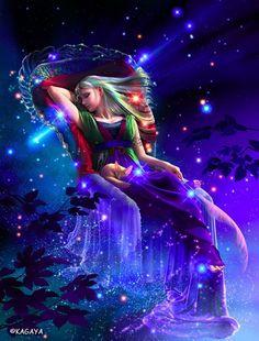 Kagaya yutaka goddess of the night art woman cat sky night stars