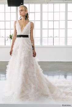 marchesa spring 2018 bridal sleeveless deep v neck full embellishment romantic a  line wedding dress open v back chapel train (S1) mv -- Marchesa Bridal Spring 2018 Wedding Dresses