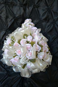 Wedding Bouquet OffWhite Pink Silk Flowers and di CasaAraiza