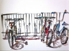 Urban sketchers show the world, one drawing at a time. Bicycle Stand, Bike, Urban Sketchers, Summer Kids, Drawing S, Bicycling, Art Journals, Sketchbooks, Sketching