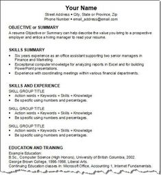 resume for skills resume format the functional resume - Resume For Interview Sample