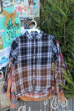 Size 7-8 Kids Black and Brown Distressed Flannel Shirt / Childs Bleached Flannel / Long Sleeve Plaid Flannel / Bleached, Grunge Flannel FF96 by GypsyFarmGirl on Etsy