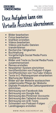 Tasks for a virtual assistant can be versatile. Social Media Digital Marketing, Social Marketing, Online Marketing, Facebook Business, Online Business, Influencer Marketing, Get Instagram Followers, German Language Learning, Social Bookmarking