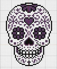 Sugar skull pattern for Perler beads or cross stitch. Crochet Skull, Crochet Cross, Crochet Chart, Free Crochet, Cross Stitch Skull, Cross Stitch Charts, Cross Stitch Patterns, Loom Patterns, Beading Patterns
