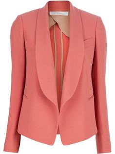 Pink silk blazer from Chloé featuring an open front, shawl lapels, a pocket to the chest, side pockets and long sleeves with buttoned cuffs