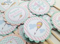 12 Cupcake Toppers  Oh The Places You'll Go by EmeraldCityPaperie