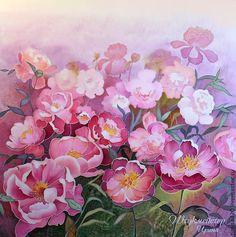 """Батик панно """"Пионовый сад"""". - розовый,пионы,сад,пионовый сад,картина для спальни"""
