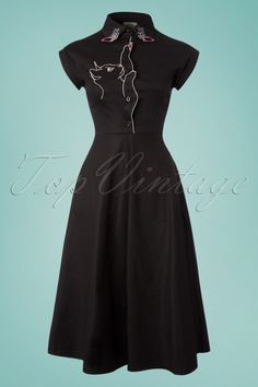324d78bd0bc 50s Meow Swing Dress in Black. Dancing Days by Banned ...