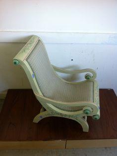 Vintage child's chair, handpainted retaining original cane. SOLD