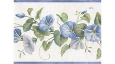 Blue White Purple Hollyhock Flowers Wallpaper Border