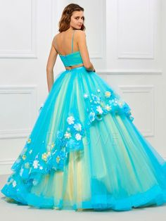 Quinceanera Dresses, Prom Dresses, Formal Dresses, Pastel Skirt, Dresser, Tutu Costumes, Flower Applique, Lovely Dresses, Chic