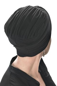 Back view of two piece turban set - pleating on top