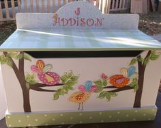 CUSTOM TOY BoX TOY CHeST Birds Wooden Storage by spoiltrottn,