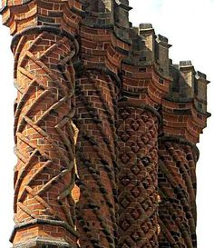 Decorative Tudor brick chimneys at Hampton Court Palace, a royal palace in the London Borough of Richmond upon Thames, Greater London, and the historic county of Middlesex, England by Bill Bradley Brick Architecture, Beautiful Architecture, Architecture Details, Zaha Hadid, Brick Art, Brick Detail, Brick Design, Hampton Court, Tudor Style