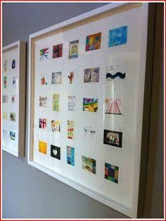 Take pics of your kids art and frame them altogether- what a perfect way to preserve and honour their creations