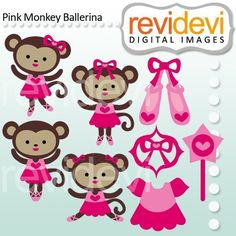 Cute ballerina monkey in pink. These digital images are great for any craft and creative projects.
