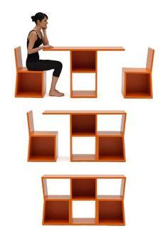 Небольшой стеллаж, который легко трансформируется в два стула и стол.