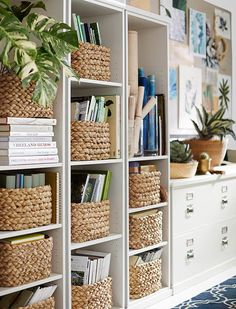 Baskets for books in built ins/ ladder shelves