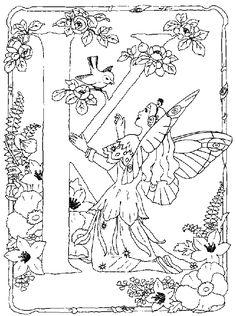 kleurplaat Alfabet feeen - Alfabet feëen K