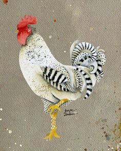 11x14 Art Print. Rooster Wallace by TheOpulentNest on Etsy
