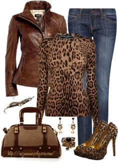 A fashion look from October 2012 featuring leopard shirt, real leather jackets and back pocket jeans. Browse and shop related looks. Mode Outfits, Chic Outfits, Fall Outfits, Fashion Outfits, Womens Fashion, Fashion Tips, Animal Print Fashion, Fashion Prints, Animal Prints
