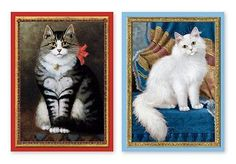 Cat with Heart & Fluffy Cat Note Cards - 10 Vibrant, Museum-Quality Note Cards