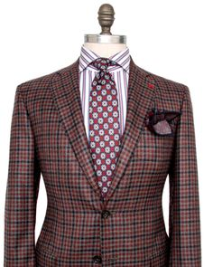 Isaia Grey with Blue and Red Check Sportcoat 2 button jacket Pick stitch…