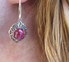 Dragon's Breath Stunning Ox SS intricate setting great Autumn Gift Low Shipping #ArtistiqueJewelry #DropDangle