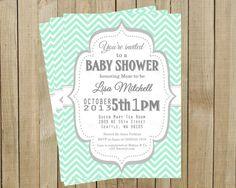 Vintage Mint Chevron with Gray Baby Shower Invitation, Custom Digital File, Printable, Pink Poppy Design on Etsy