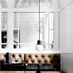 Tufted leather wall seating