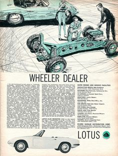 """Brisk artwork depicting one of the most artistic of cars"" KB 1965 Lotus Elan Sport Cars, Race Cars, Wheeler Dealers, Lotus Elan, Car Brochure, Cabriolet, Car Posters, Car Advertising, Unique Cars"