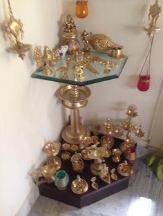 Pooja Room Design, Indian Home Design, Pooja Rooms, Decor Crafts, Beautiful Decor, Indian Decor, Brass Decor, Interior Art, Home Decor Furniture