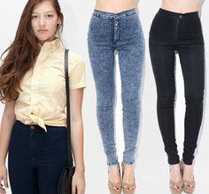 2013 women vintage  American Apparel  high waist  easy jeans pencil Stretch Denim acid wash snowflakes pants  botton  plus size on Aliexpres...