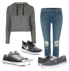 """""""School"""" by sydneetaylor23 on Polyvore featuring Topshop, J Brand, Vans, NIKE and Converse"""