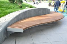 Great Idea 25 Unique And Beautiful Rounded Wooden Bench Ideas To Make Your Garden Become Amazing goo Diy Furniture Renovation, Diy Furniture Cheap, Urban Furniture, Garden Furniture, Furniture Legs, Furniture Design, Concrete Furniture, Concrete Wood, Polished Concrete