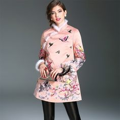 61.21$  Watch here - http://aliidy.worldwells.pw/go.php?t=32783286562 - hot sale Chinese Style warm coat 2017 NEW spring Embroidery coats Cute Women Vintage Clothing Fashion XXL Loose winter overcoat 61.21$