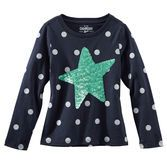 Sweet and simple, she's ready to stargaze in this sparkly polka dot tee.