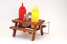 Wooden Salt And Pepper Picnic Table Caddy With Napkin Holder, Rustic Wooden…