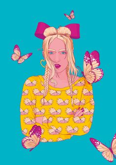 Helga by Céline Mazzilli #art #illustration #illustrator #photoshop #heyarnold #helga #arnold #colorful #love #lovefool #butterfly #ribbon #pink #piercing #90s